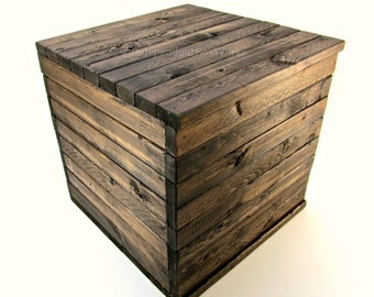 Made to Order: 13 Inch Wooden Crate - Rustic Cube with Lid - Wood Memory Box, Small Keepsake Crate, Country Storage Bin, Farmhouse Gift Box