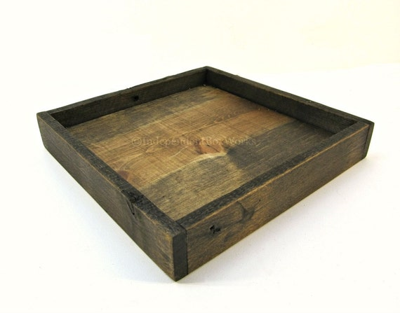 Shallow square wooden tray rustic wood centerpiece box