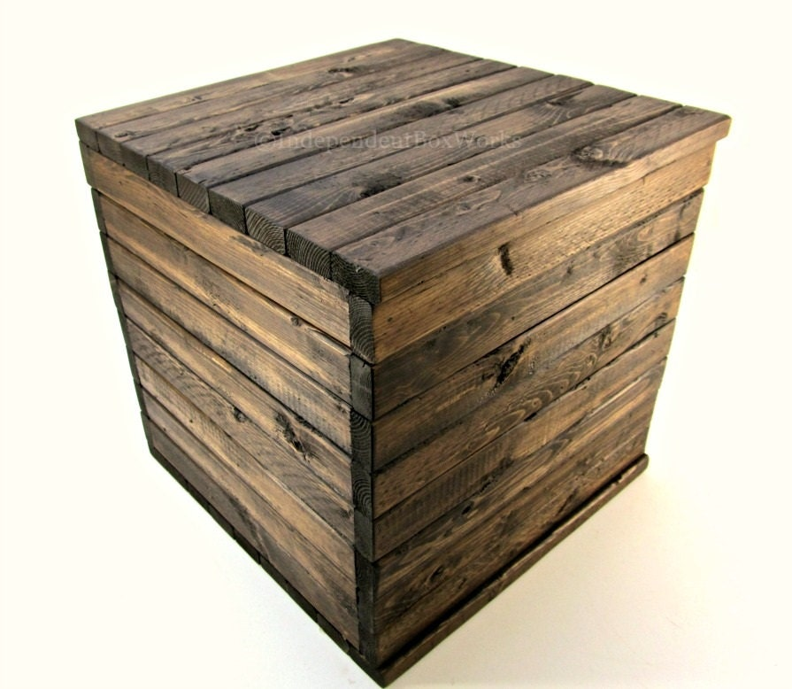 made to order 13 inch wooden crate rustic cube with lid. Black Bedroom Furniture Sets. Home Design Ideas