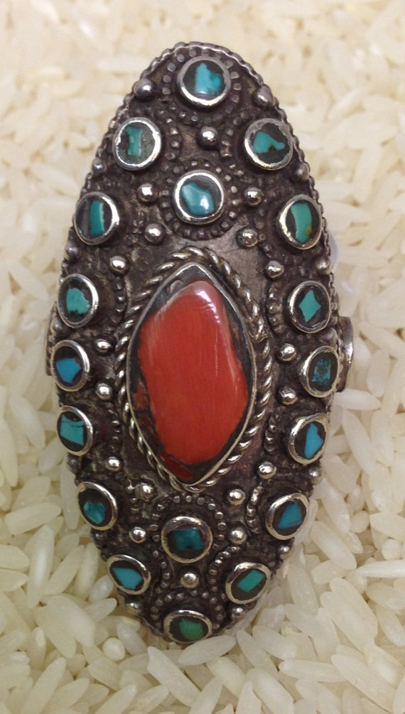 Ring Tibetan Silver Turquoise Coral Ring Handmade Handcrafted Red Coral Turquoise Silver Tribal Statement Tibet Unique Boho