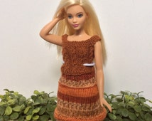 Curvy Barbie Clothes, Knitted Top and Skirt Combo, Handmade Barbie Outfit, Gifts for Nieces, Gifts for Girls