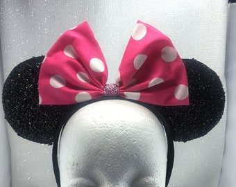 Classic Hot Pink Bow Polka Dot Minnie Mouse Ears Headband