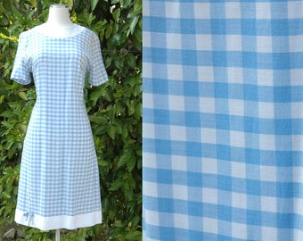 Vintage Blue and White Checked Mode O'Day Shift Dress