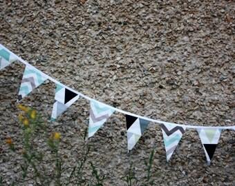 Mint garland. 13 Cotton Flag Garland bunting