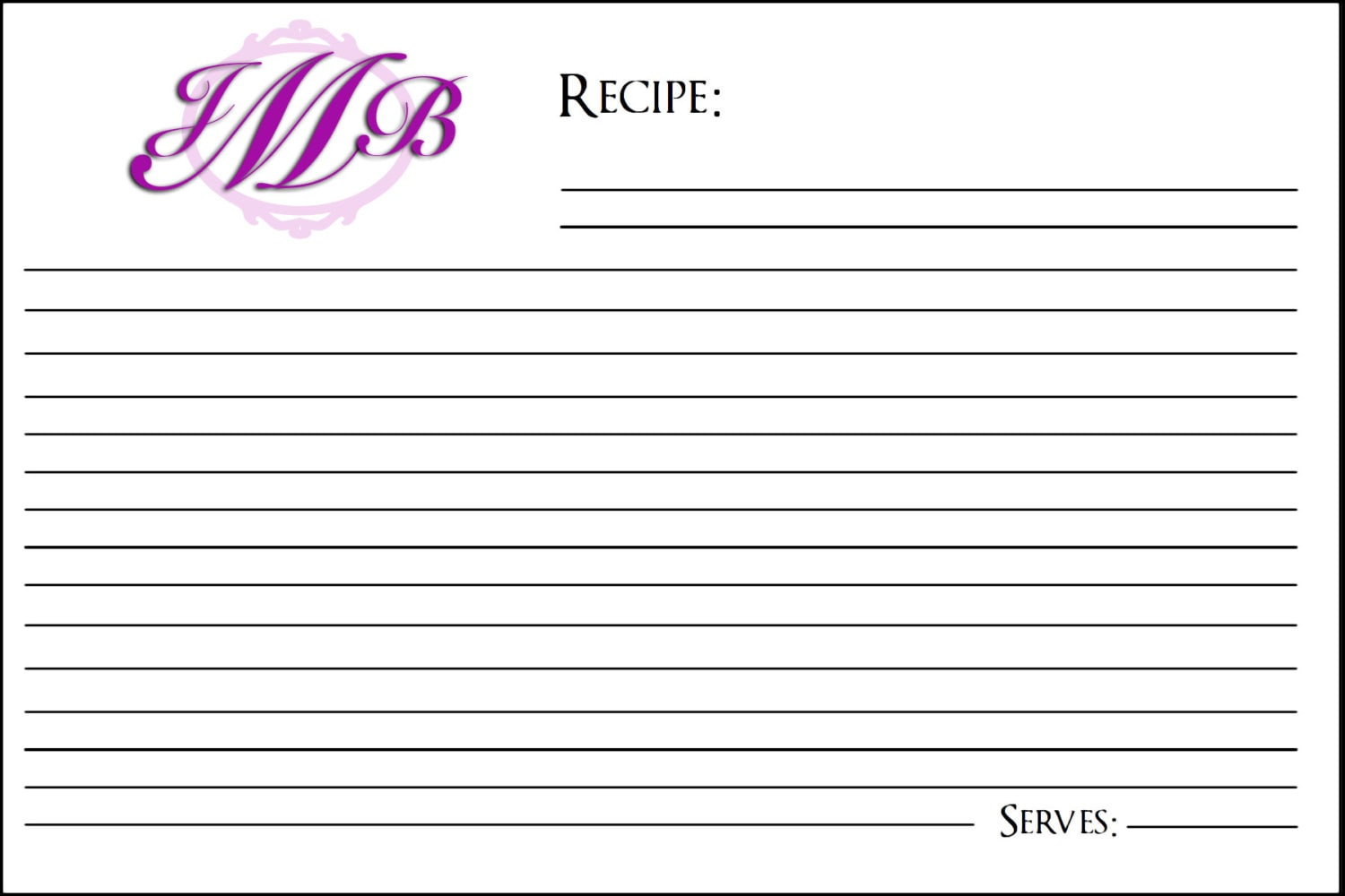 monogram recipe card template 4x6 inches by yourstrulywithlovee. Black Bedroom Furniture Sets. Home Design Ideas