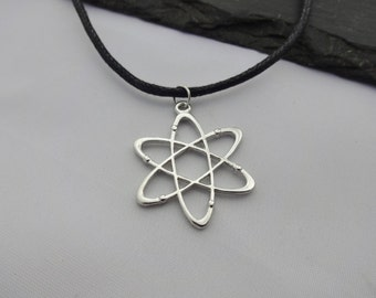 Atom Necklace, Atom Choker, Science Necklace, Black Cord Necklace, Atom Gift, Charm Choker, Science Gift, Geek Necklace, Geek Gift