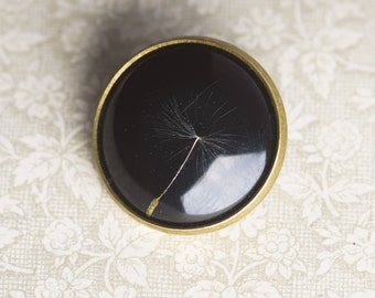 LÖWENZAHN - Brooch with real seed of dandelion, Flower Jewelry, Real Seed of Dandelion Encased in Resin, Flower Jewelry, Resin Jewelry