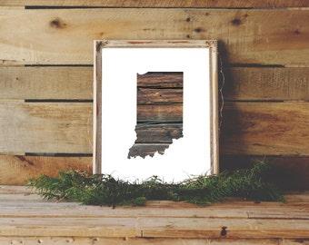 Indiana Printable, Wood Print, Indiana State Art Print, Indiana Wall Art, State Art, State Print, Wood Wall Decor, Wood Indiana, Wood Art