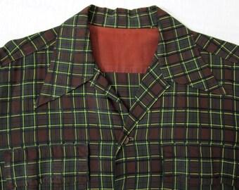 Vintage 40s 50s Loop Collar shirt XL