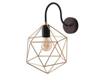 Geometric Wall Sconce Light Brass Wall Lamp Handmade Polyhedron Lighting Metal Industrial Sconce Gold Diamond Light Minimalist Home Decor