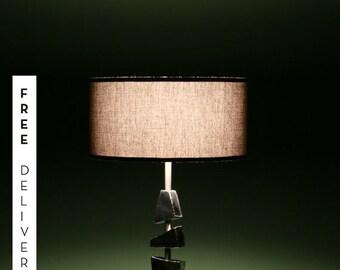 Table lamp, reading lamp, interior lighting, modern design, artwork, polished stainless steel, table la