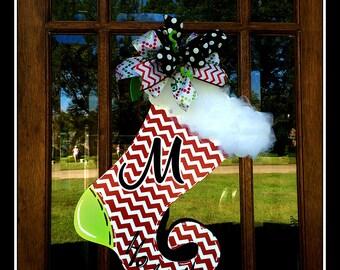 Christmas Stocking Door Hanger, Stocking Door Hanger, Monogram Christmas Door Hanger, Personalized Christmas Door Hanger, Elf Stocking Door