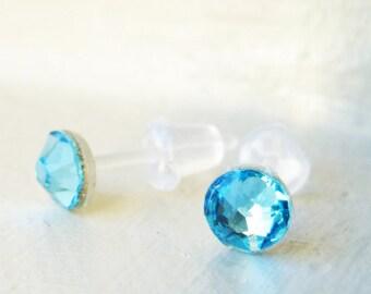 Swarovski crystal earrings on plastic posts for sensitive ears