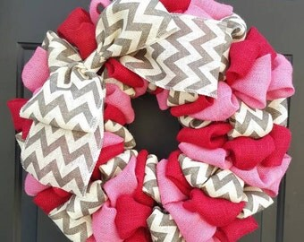 Valentine Burlap Wreath, Valentine Wreath, Burlap Wreath-Red, Pink, and Grey Chevron Burlap with Chevron Bow