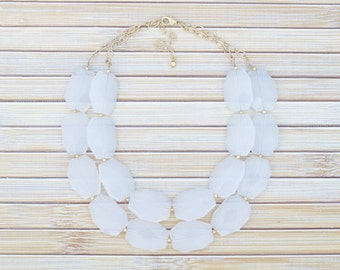 White Statement Necklace, White and Gold Statement Necklace, Large Big Bead Neutral Bib Collar Necklace, Wedding Choker, Mom Birthday Gift