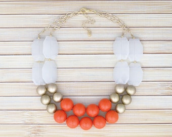Orange Beaded Statement Necklace - Double Strand Layered Rows of Chunky Beads Necklace - Special Event Party Necklace - Fun Fashion Jewelry