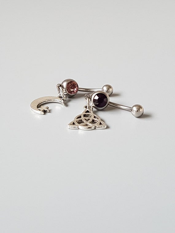 Celtic belly button ring set Crescent moon Belly bars