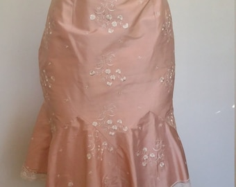 Embroidered skirt, S, peach skirt, silk skirt, flirty skirt, ruffled skirt, pink skirt, formal pink skirt, formal skirt