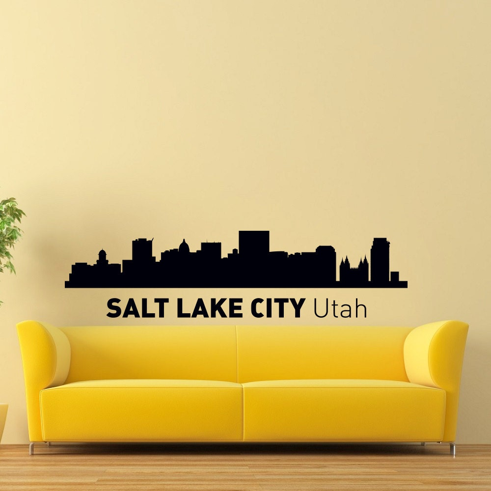 Salt Lake City Utah Skyline City Silhouette Wall Vinyl Decal