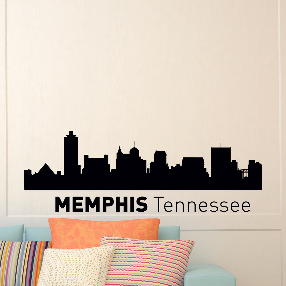 memphis tennessee skyline city silhouette wall vinyl decal. Black Bedroom Furniture Sets. Home Design Ideas