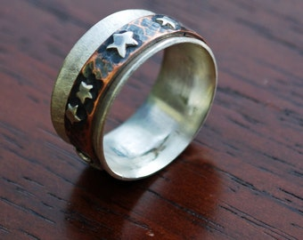 Silver Copper Spinner Ring, Star Spinner Ring, Mixed Metal Worry Ring  J-2106