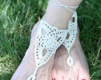 Ivory Chrocheted Beach Wedding Bridal Barefoot Sandals - One Size