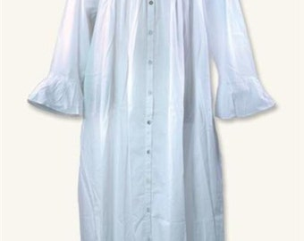 Victorian Nightgown with Long Sleeves - White Cotton - Sizes S-2XL