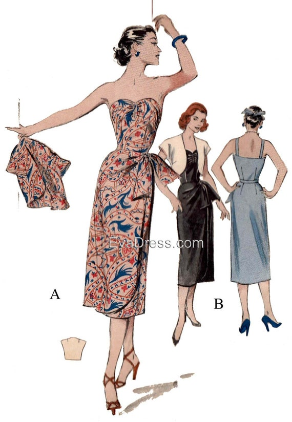 1950s Sewing Patterns | Dresses, Skirts, Tops, Mens 1950s Sarong & Bolero EvaDress Pattern1950s Sarong & Bolero EvaDress Pattern $25.00 AT vintagedancer.com