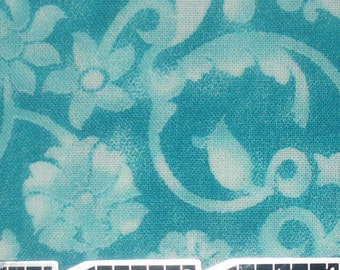 Turquoise floral swirl quilt fabric