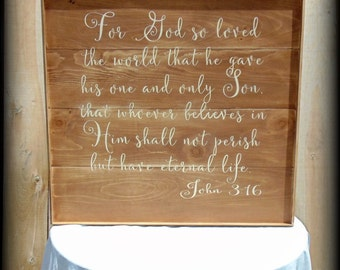 For God So Loved The World - John 3 16 - Handmade Wooden Sign - Scripture Verse - Bible Verse Sign - Rustic Wooden Sign - Plank Style Sign