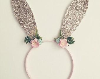 Silver Floral Bunny Headband  - Floral Bunny Headband /White Bunny Ears/Rabbit Ears Headband/Floral Crown Item #017