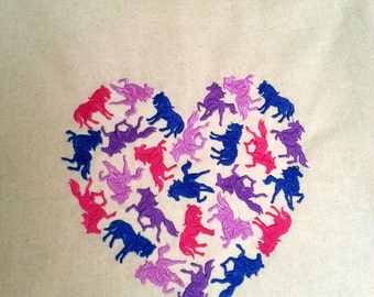 Canvas Tote Bag, Embroidered Market Bag