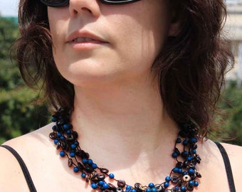 Crochet Bead Necklace - Blue Necklace - Coconut Jewelry - Multi Strand Beaded Necklace - Perfect Gift for Her - Fair Trade Jewelry 1300