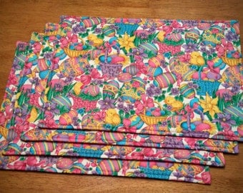 FOUR 4 Bright Colorful Pink Yellow Purple Blue Easter Placemat with Chicks Eggs Flowers and Baskets