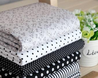 black series floral dot stripe cotton fabric bundle patchwork fabric bundle Quilted bundle doll's clothes fabric fat quarter  (6pcs/set)