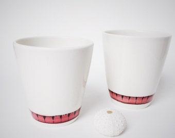 Porcelain tumbler • white • red • modern • ceramic • handmade • stripes • unique • gift • wedding • hostess • friend • teacher •