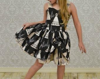 Girls Chandelier Dress - Flower Girl Dress - Girls Boutique Dress - Black and White Dress - Girls New Years Eve Dress - Girls Party Dress