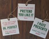 Holiday Gift Tag, Christmas Gift Tag, Funny Holiday Gift Tag, Set of 6