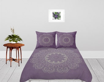 Duvet Cover - 4 different sizes to Choose From, Without Inserts, Bedroom, Home, decor, Romantic, Gift, Lilac, Purple, Mandala, Boho, Hippie