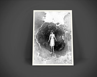 Storm, Home Decor, Wall Art, Girl In Storm, Lighting Art, Rain Art, Storm Art, Black And White Art, Contemporary Art, Girl Figure, Ink Art