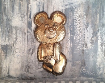 Vintage soviet decorative plaque The Olympic Mishka  - Bear Decor - USSR 80s - Wall plate