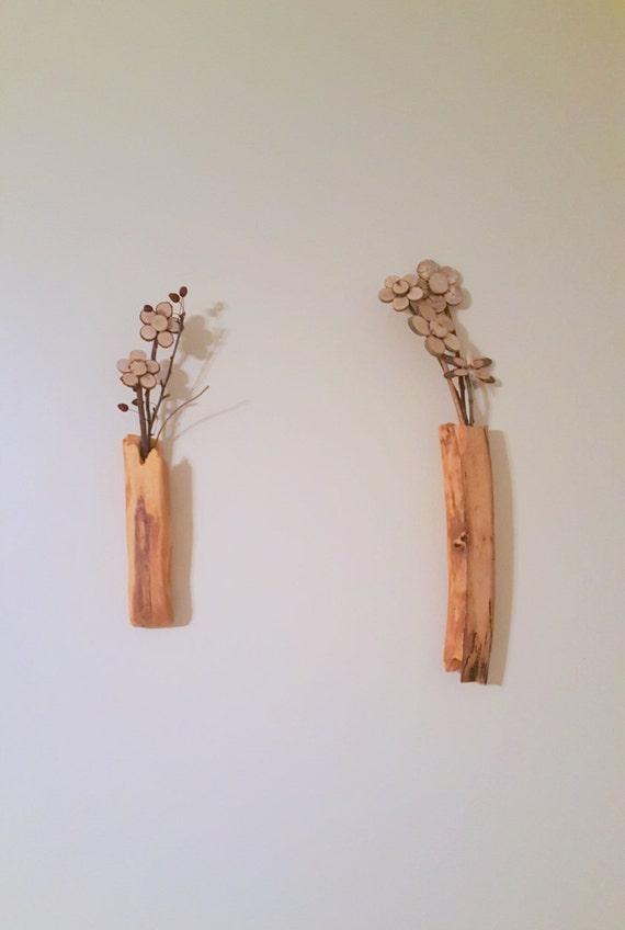Par de tallado registro floreros con rama de flores de corte | Arte de pared de madera estilo rústico | Florero de madera bud borde vivo | Reclamado reutilizar salvado