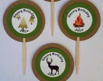 Set of 12 Camping Themed Cupcake Toppers