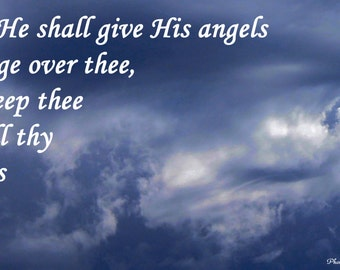 God's Angels Watching Over Print Christian Bible Verse Photography