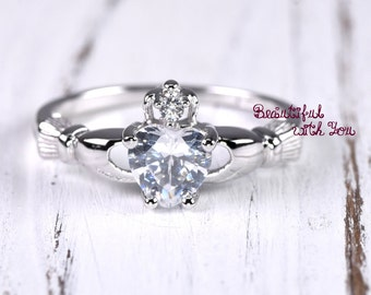 Silver Celtic Claddagh Ring Women Clear Cubic Zirconia Irish Claddagh Love Loyalty Friendship Heart Fede Ring