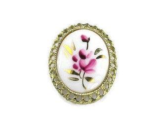White Painted Porcelain Cameo Brooch