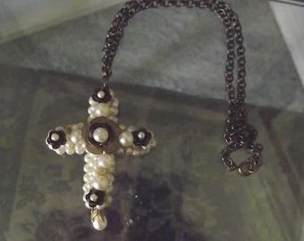 Brass Rose Pearl Cross Choker Necklace, Handcrafted Original Design