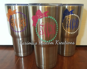 Stainless steel tumbler/30 oz Tumblers/Monogram tumbler/ stainless steel tumblers/ RN cup/ tumbler/personalized cup/hot cold cup