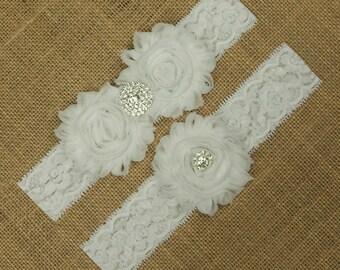 White lace Wedding Garter, White Bridal Garter, Wedding Garter Set, Bridal Garter Set, Toss Garter, Keepsake Garter, Flower Wedding Garter