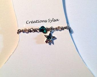 Green ankle chain, Emerald ankle bracelet, Peridot Swarovski crystals, jewelry, body jewelry, women gift, great gift, ado gift, girl gift